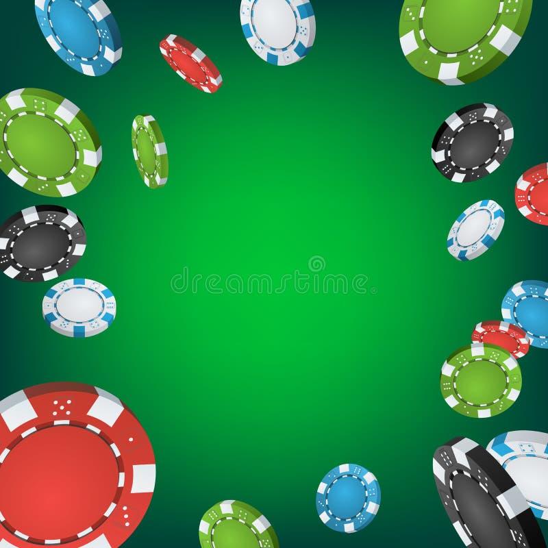 Fondo del ganador del casino Póker de juego Chips Illustration de la explosión que cae Ejemplo premiado del diseño del bote libre illustration