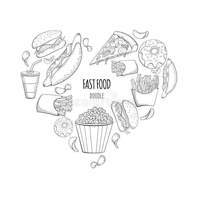 Fondo del garabato de los alimentos de preparación rápida en forma del corazón ilustración del vector