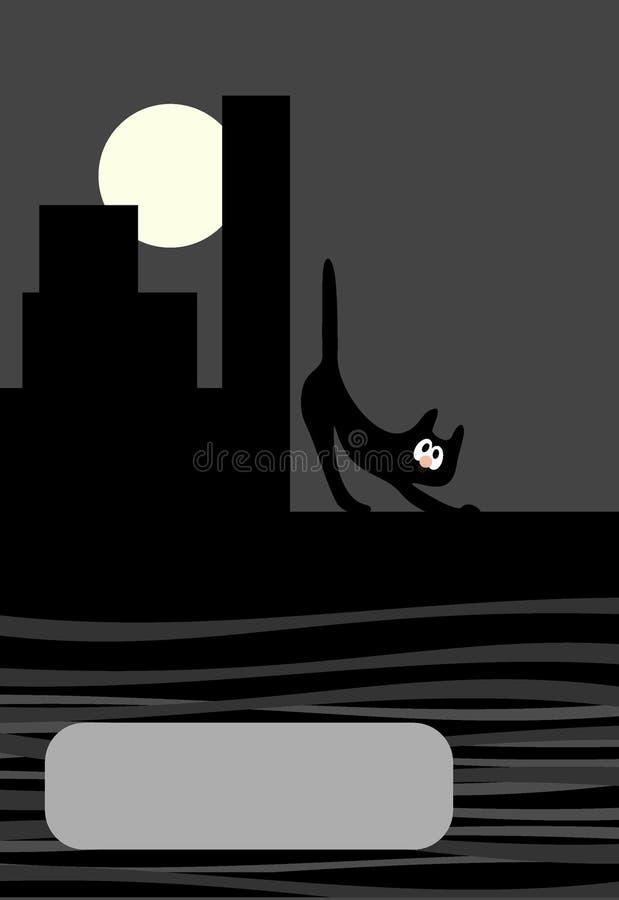 Fondo del gato de la ciudad de la noche de la belleza libre illustration