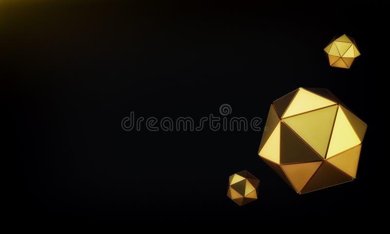 Fondo del geoshpere del oro 3d rinden stock de ilustración