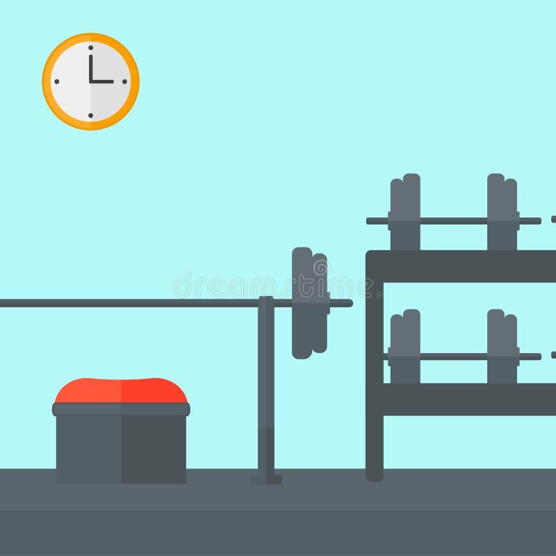 Fondo del gimnasio con el equipo ilustración del vector