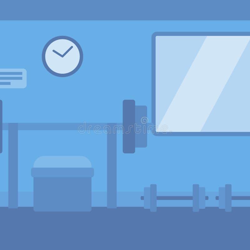 Fondo del gimnasio con el equipo stock de ilustración