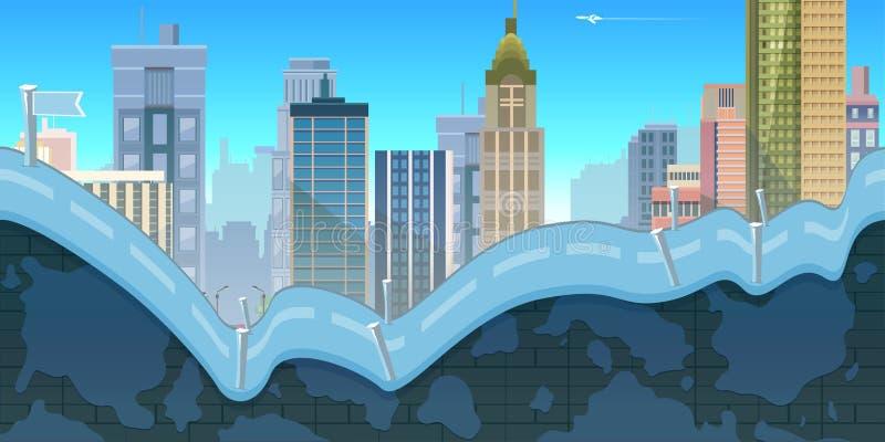 Fondo del gioco della città con le montagne e le retro vecchie automobili, 2d applicazione Illustrazione per il vostro, progetto illustrazione di stock