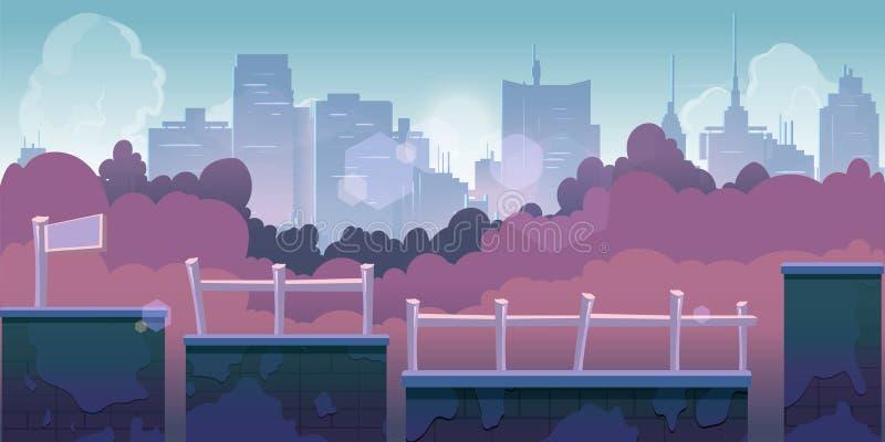 Fondo del gioco della città, 2d applicazione del gioco illustrazione vettoriale