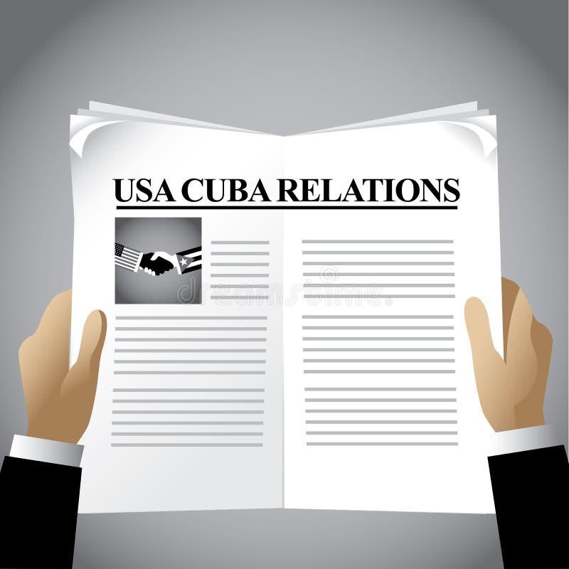 Fondo del giornale di relazioni di U.S.A. Cuba illustrazione vettoriale