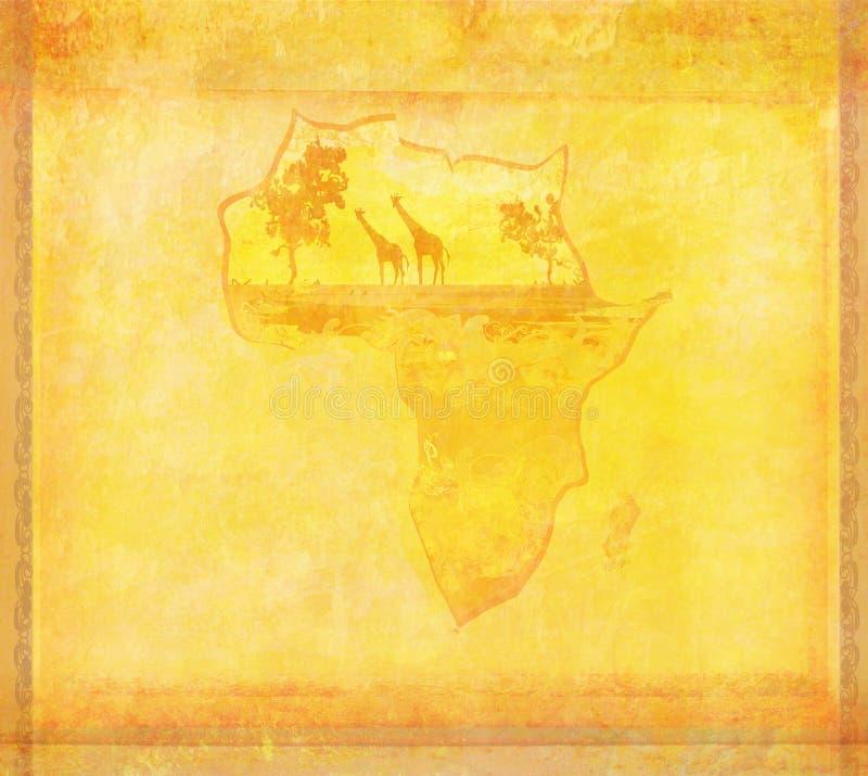 Fondo Del Grunge Con Fauna Africana Y La Flora Fotos de archivo libres de regalías