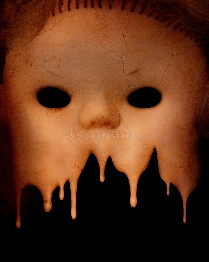Fondo del Grunge con la cara fantasmagórica malvada de la muñeca del vintage fotografía de archivo