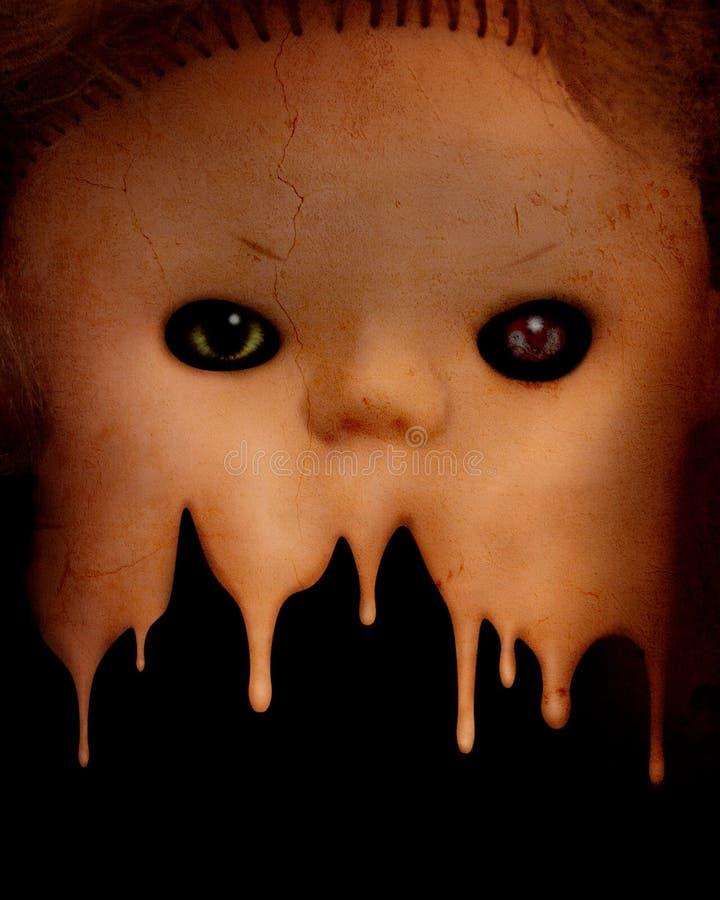 Fondo del Grunge con la cara fantasmagórica malvada de la muñeca del vintage stock de ilustración