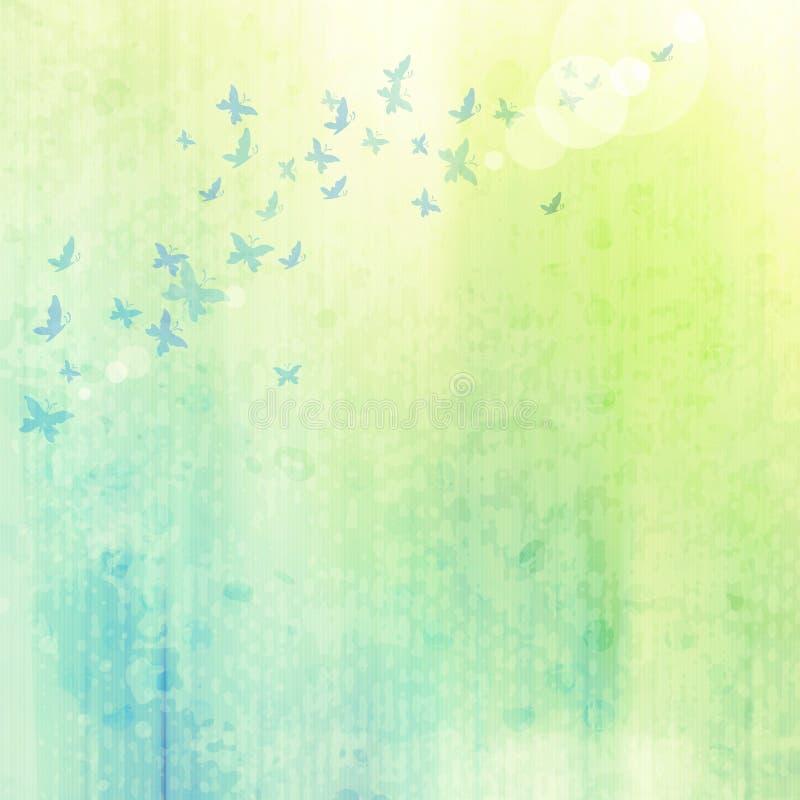 Fondo del Grunge con las mariposas stock de ilustración