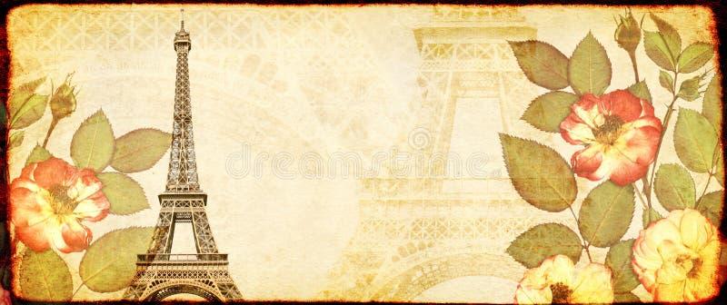 Fondo del Grunge con textura del papel, las flores color de rosa secadas y la torre Eiffel fotos de archivo