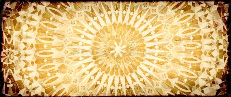 Fondo del Grunge con textura del papel y ornamento de la teja en estilo marroquí stock de ilustración
