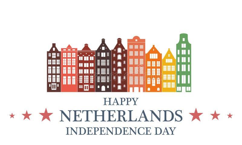 Fondo del grunge de la independencia Day netherlands ilustración del vector