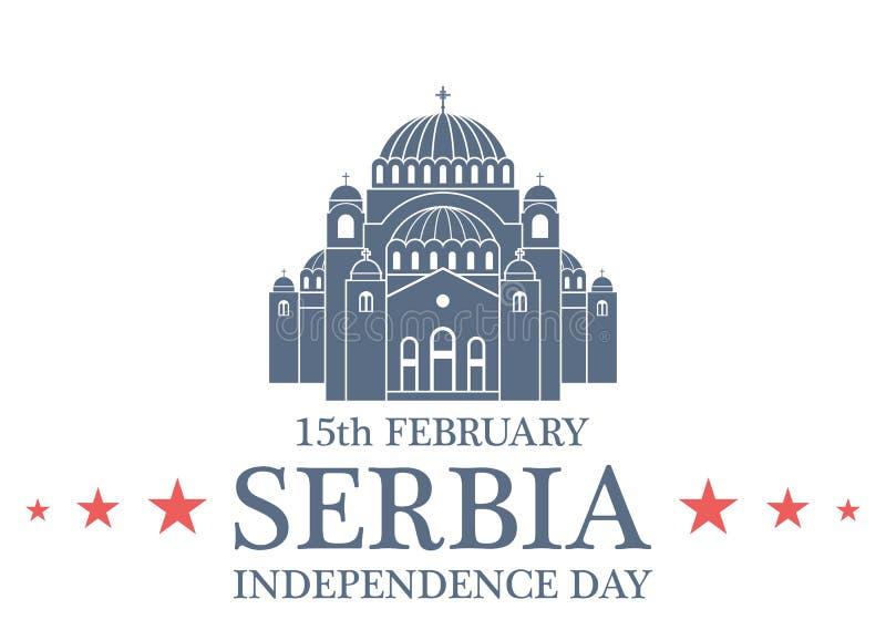 Fondo del grunge de la independencia Day serbia ilustración del vector