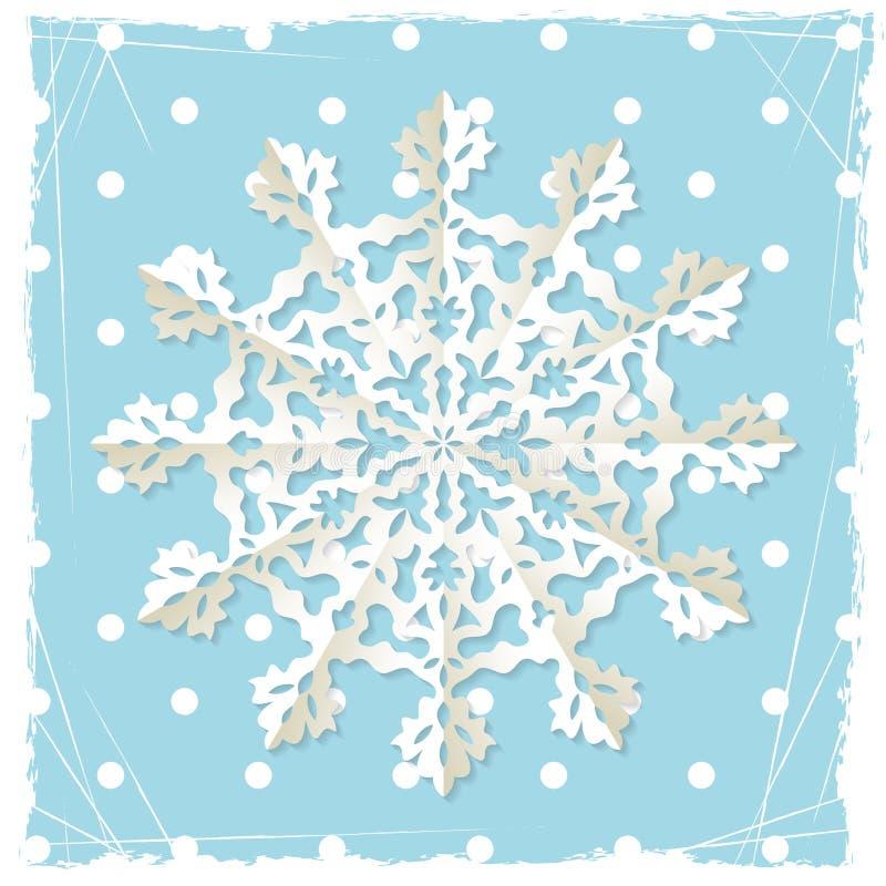 Fondo del grunge de la Navidad con el copo de nieve del origami stock de ilustración
