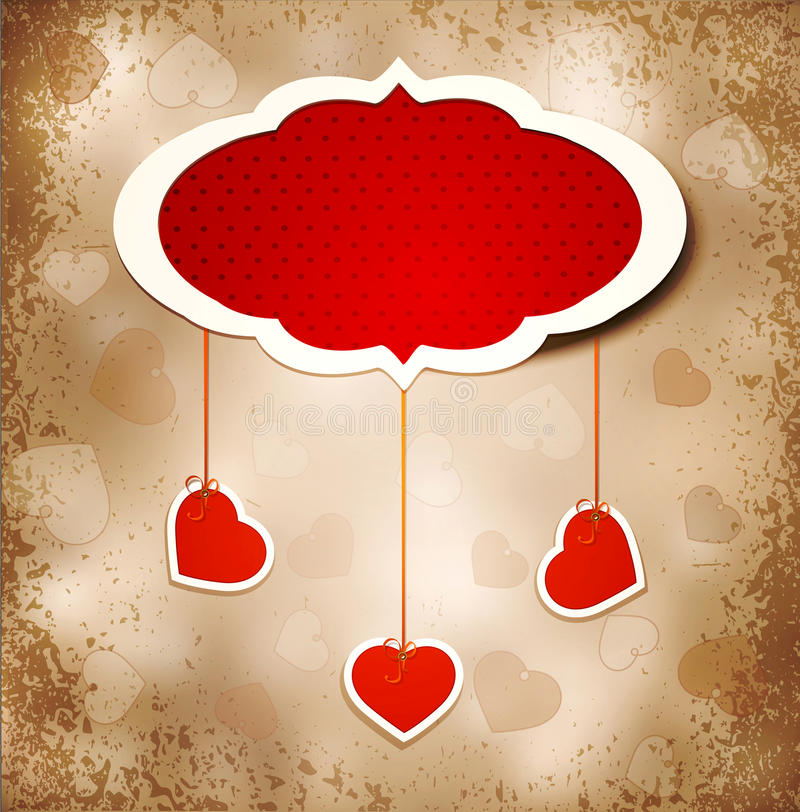 Fondo del grunge de la vendimia a un día de tarjeta del día de San Valentín stock de ilustración