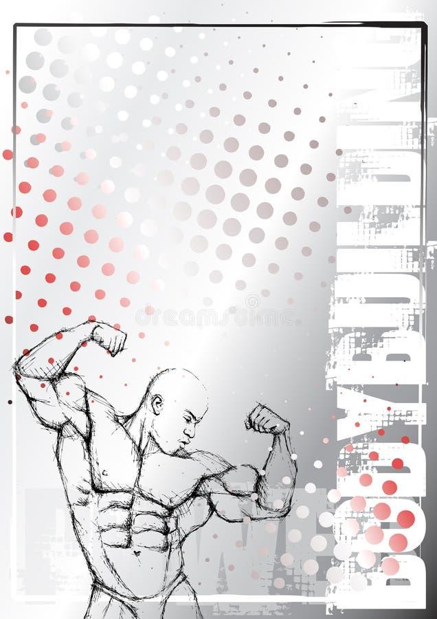 Fondo del grunge del bodybuilding del lápiz ilustración del vector