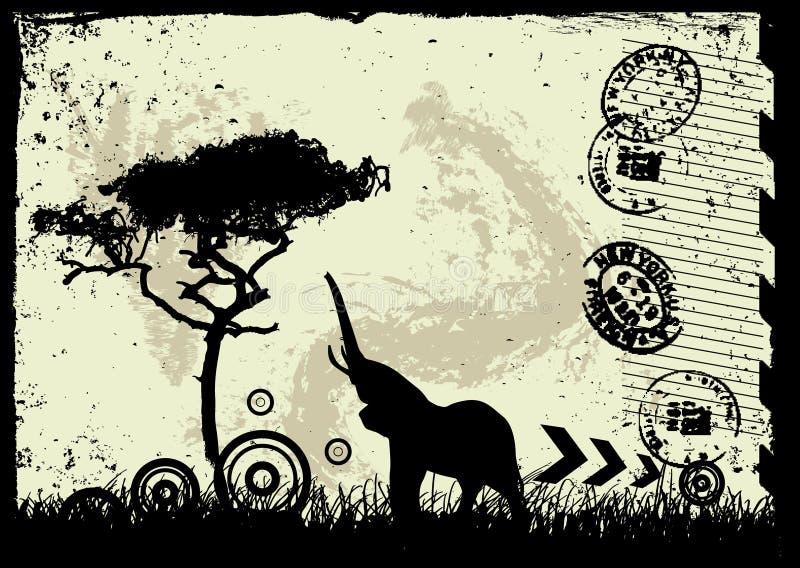 Fondo del grunge del vector con el árbol y el animal stock de ilustración
