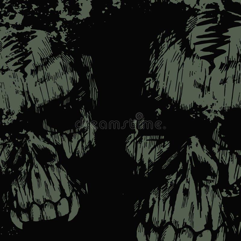 Fondo del grunge del vector con los cráneos stock de ilustración