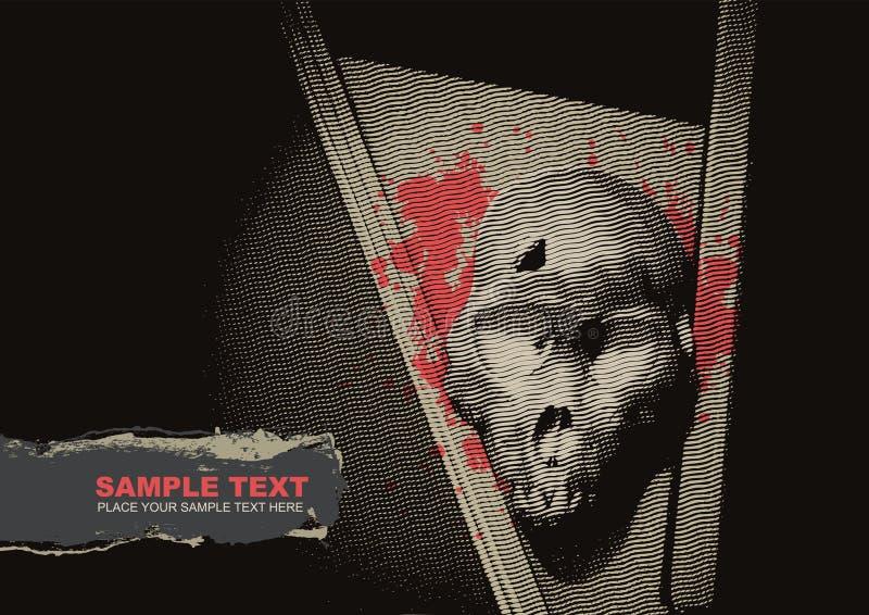 Fondo del grunge del vector con un esqueleto ilustración del vector