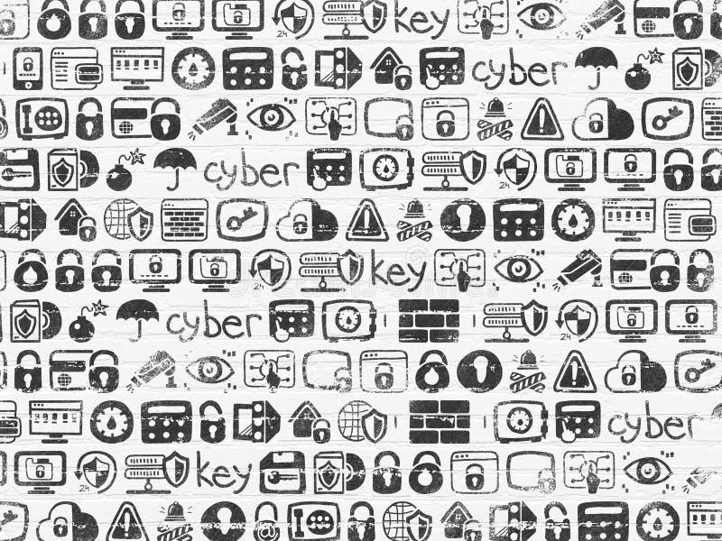 Fondo del Grunge: Textura blanca de la pared de ladrillo con los iconos dibujados mano pintados de la seguridad libre illustration