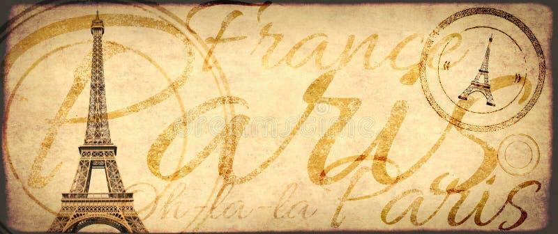 Fondo del grunge del vintage con la vieja textura de papel y Eiffel Towe foto de archivo