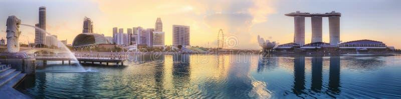 Fondo del horizonte de Singapur imagenes de archivo
