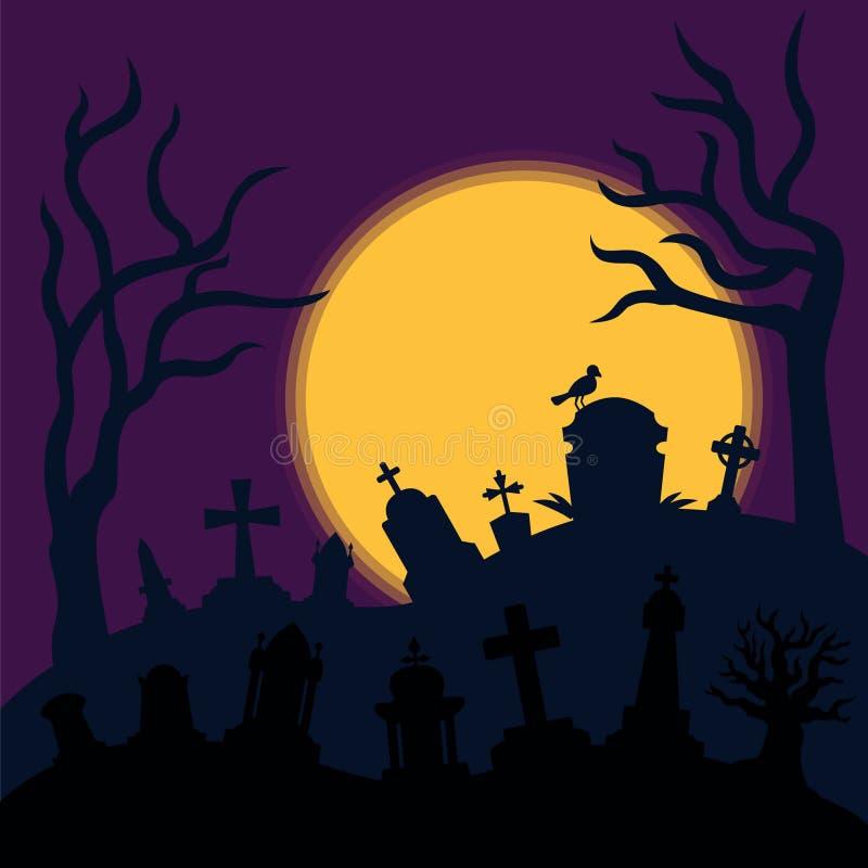 Fondo del horror del cementerio stock de ilustración
