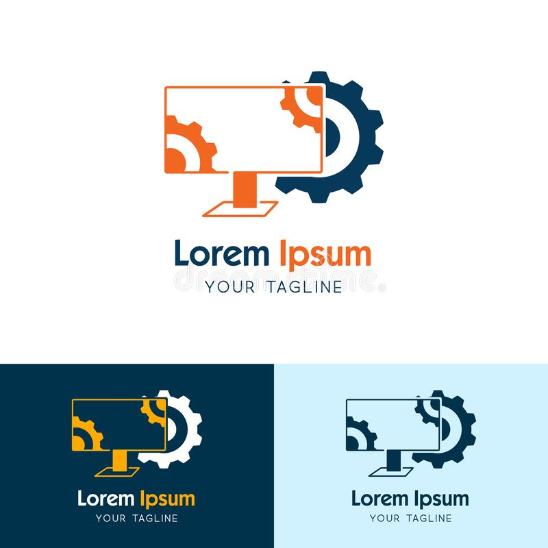 Fondo del icono del logotipo del engranaje y del monitor de computadora Monitor del servicio, mantenimiento, vector del monitor d ilustración del vector