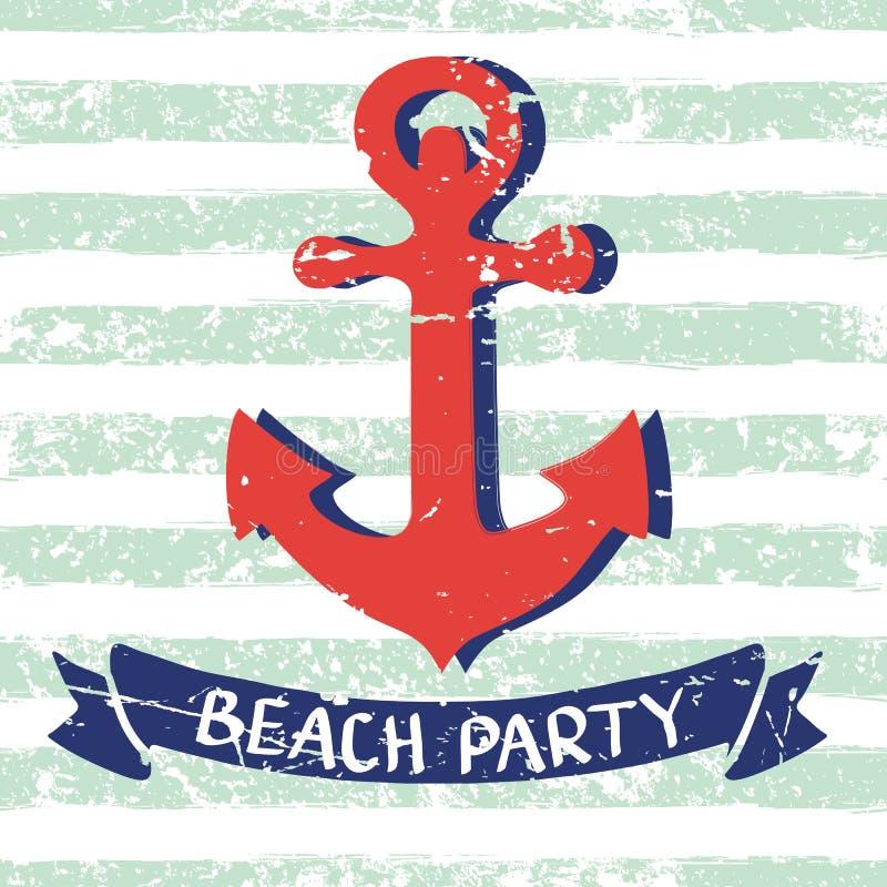 Fondo del infante de marina del vector Ancla dibujada mano roja, cinta, letras ilustración del vector
