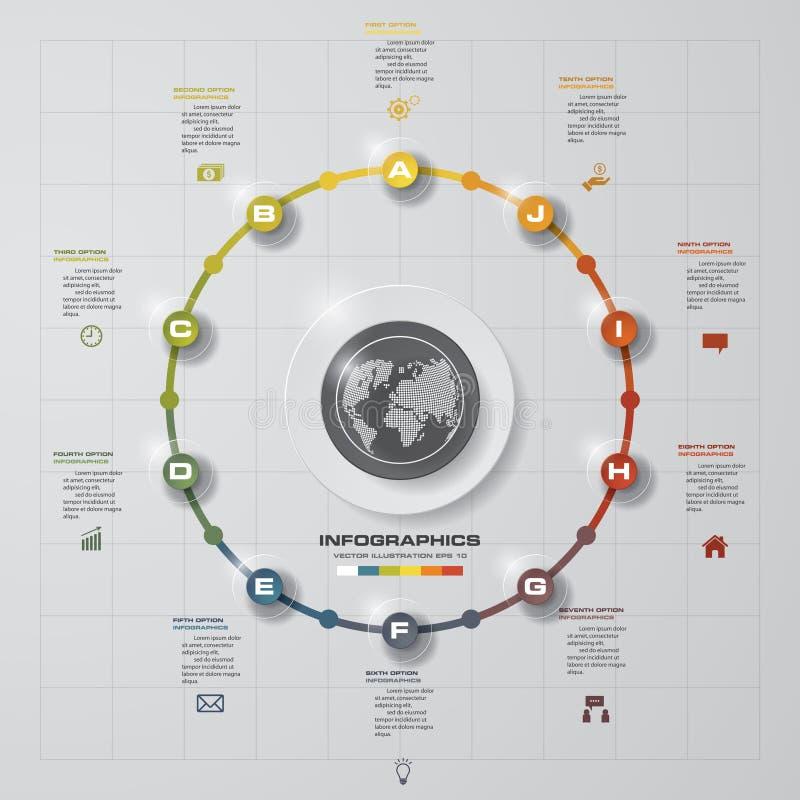 Fondo del infographics del círculo de los pasos del extracto 10 Plantilla de las banderas del número libre illustration