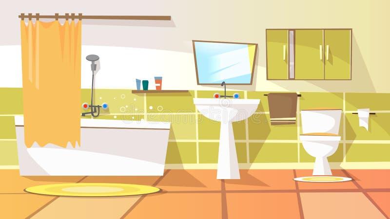 Fondo del interior del cuarto de baño de la historieta del vector ilustración del vector