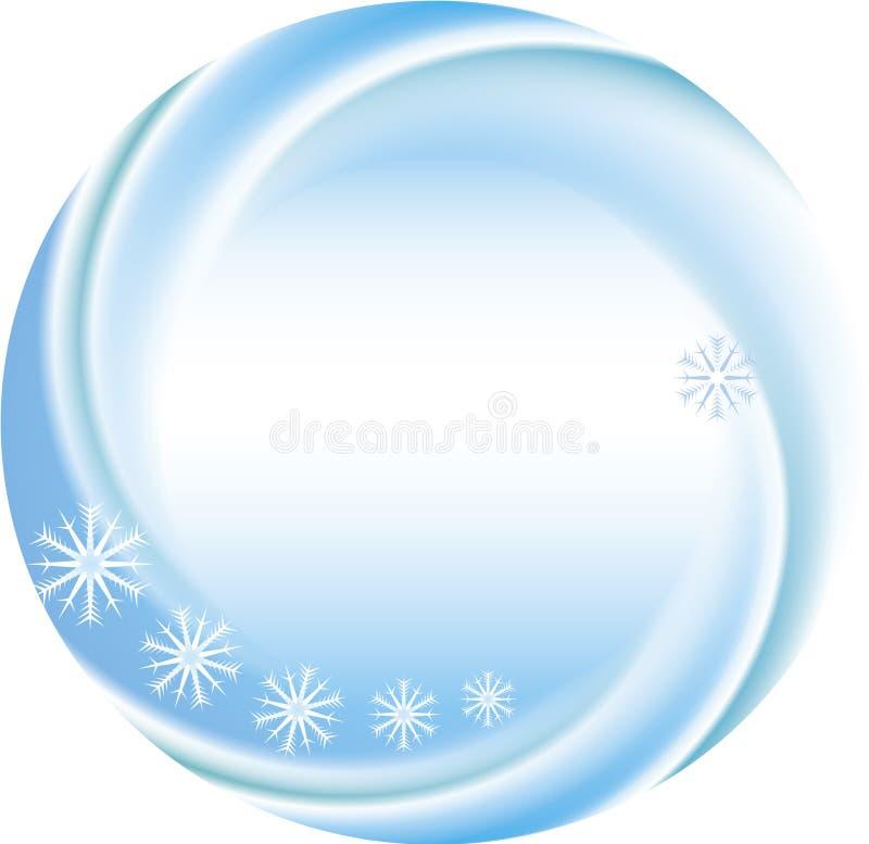 Fondo del invierno como marco redondo con los copos de nieve stock de ilustración