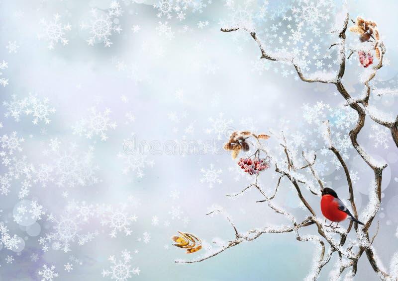 Fondo del invierno con copos de nieve y un piñonero del pájaro en las ramas de un árbol libre illustration