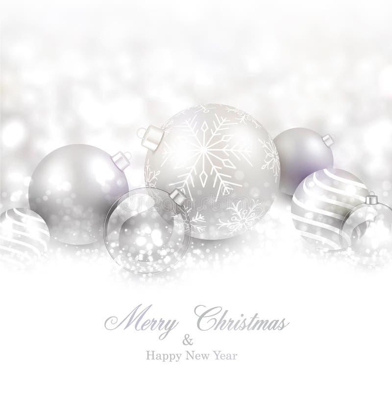 Fondo del invierno con las bolas de plata de la Navidad ilustración del vector