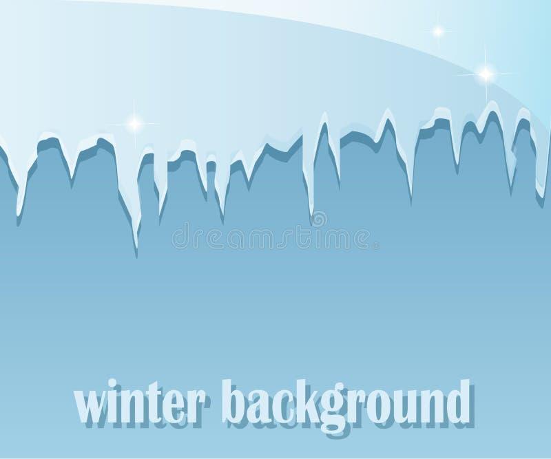 Fondo del invierno con los carámbanos stock de ilustración