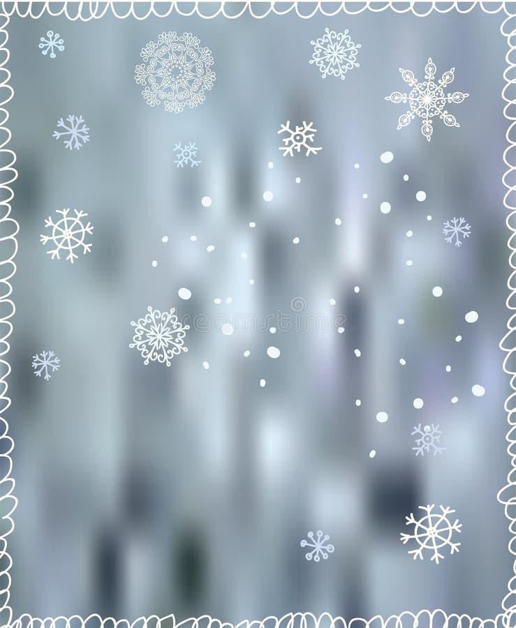 Fondo del invierno con los copos de nieve - para la Navidad libre illustration
