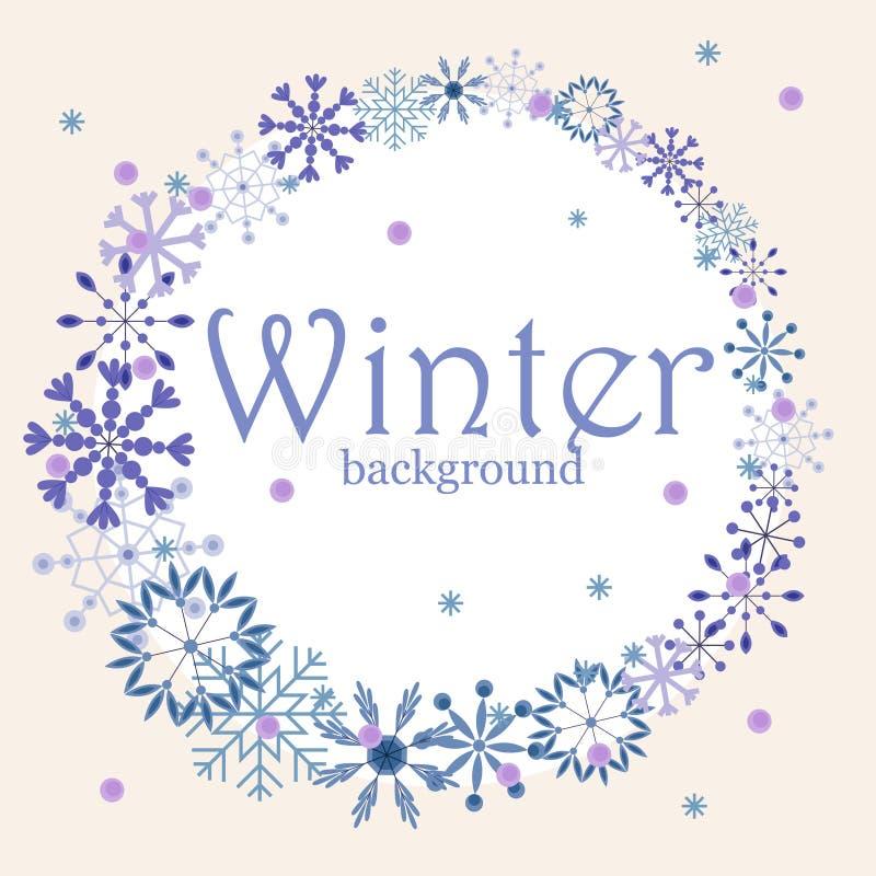 Fondo del invierno con los copos de nieve del vintage y la bandera redonda libre illustration