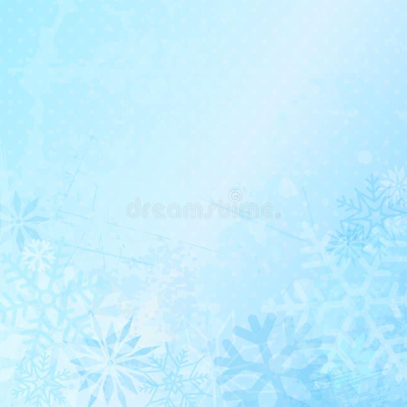 Fondo del invierno con los copos de nieve y Dots Blue stock de ilustración