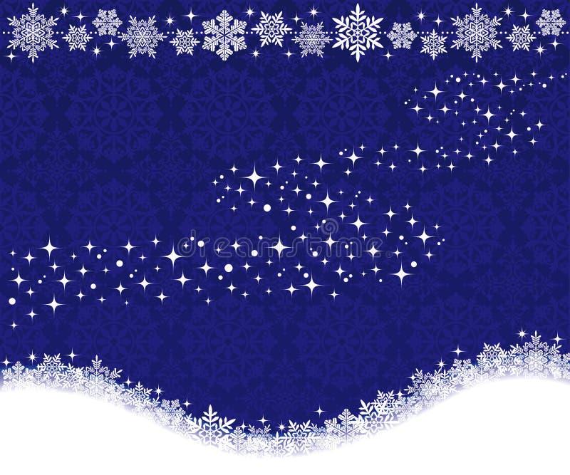 Fondo del invierno con los copos de nieve y la vía láctea. ilustración del vector
