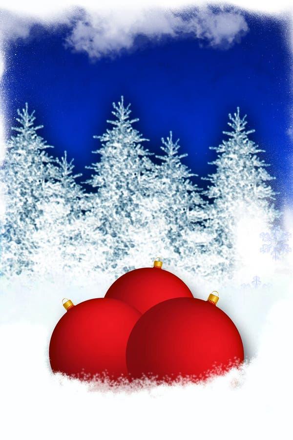Fondo del invierno con los globos rojos ilustración del vector