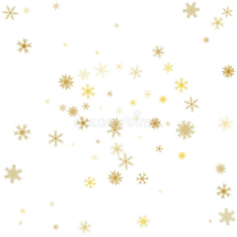Fondo del invierno del copo de nieve del oro Copos de nieve de oro en blanco VE ilustración del vector
