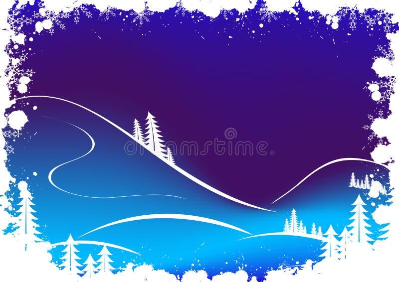 Fondo del invierno de Grunge con los copos de nieve y Santa Clau del abeto ilustración del vector