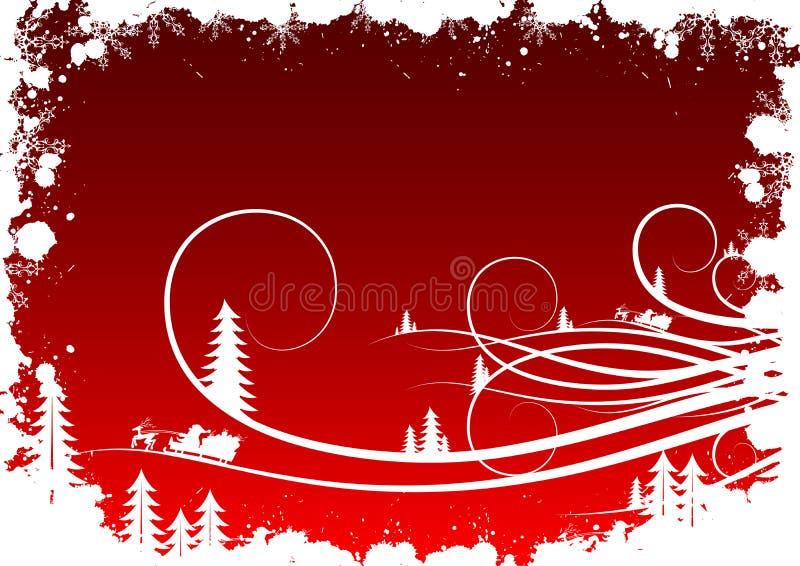 Fondo del invierno de Grunge con los copos de nieve y Santa Clau del abeto stock de ilustración