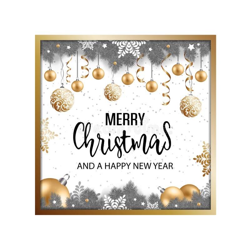 Fondo del invierno de la Navidad con las ramas, las bolas y snowfla del abeto ilustración del vector