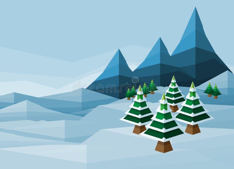 Fondo del invierno de la nieve de la Navidad del polígono ilustración del vector