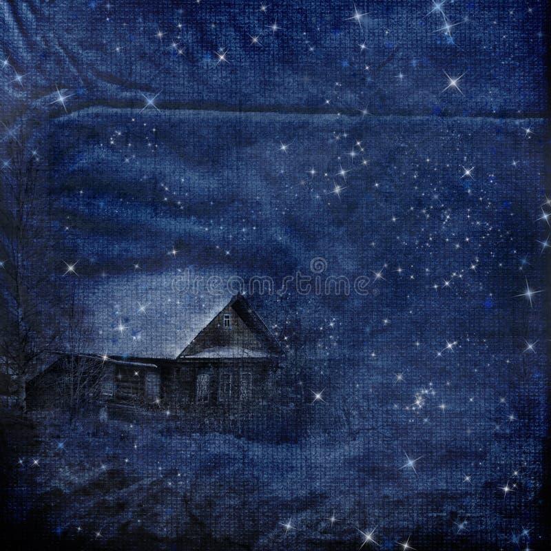 Fondo del invierno de la ventisca de la noche ilustración del vector