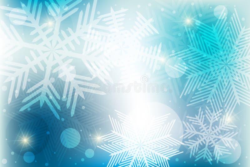 Fondo del invierno de los copos de nieve ilustración del vector
