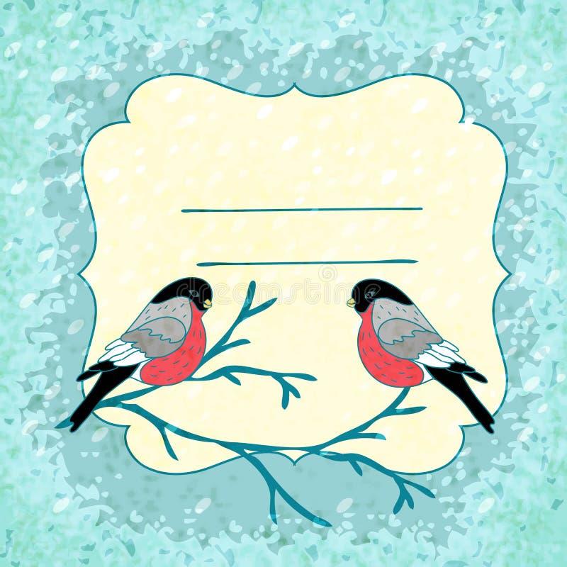 Fondo del invierno del vector con el pájaro del piñonero ilustración del vector