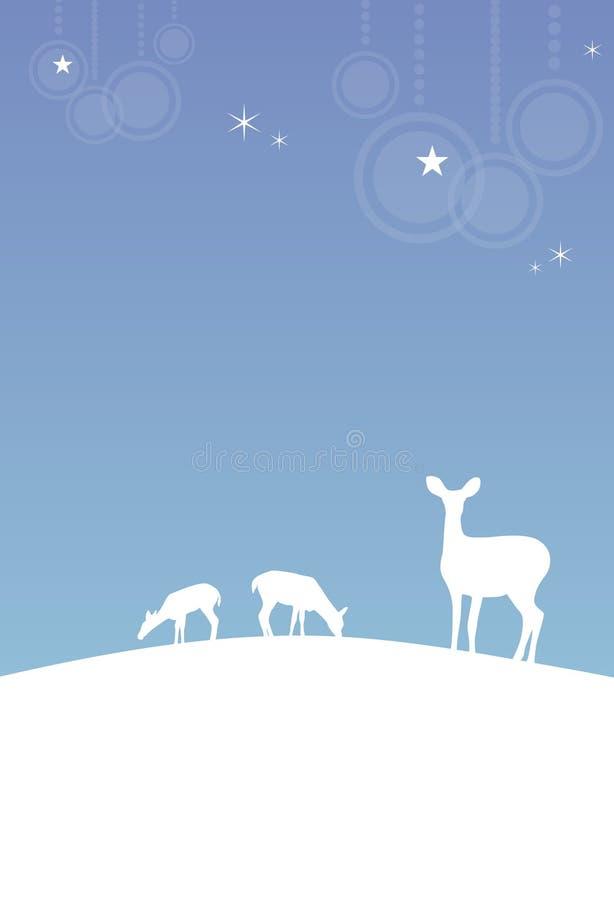 Fondo del invierno (la Navidad) con los ciervos stock de ilustración
