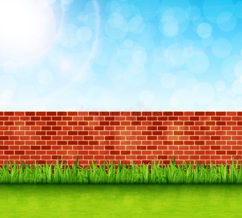 Fondo del jardín con vector de la pared de ladrillo y de la hierba verde ilustración del vector